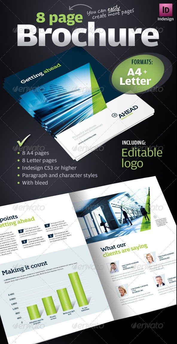 Free Premium Brochure Templates Photoshop PSD InDesign AI - 8 page brochure template