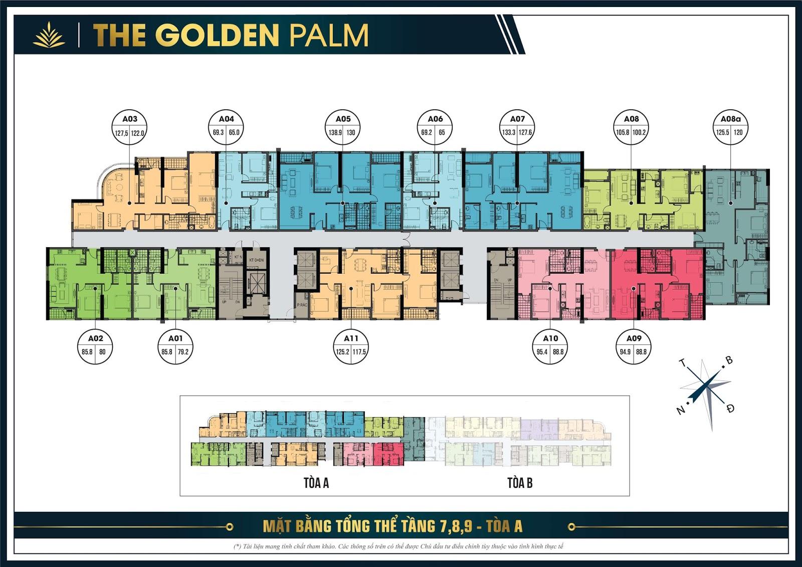 Mặt bằng điển hình tầng 7, 8, 9 tòa A - The Golden Palm