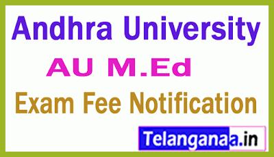 Andhra University M Ed Exam Fee Notification
