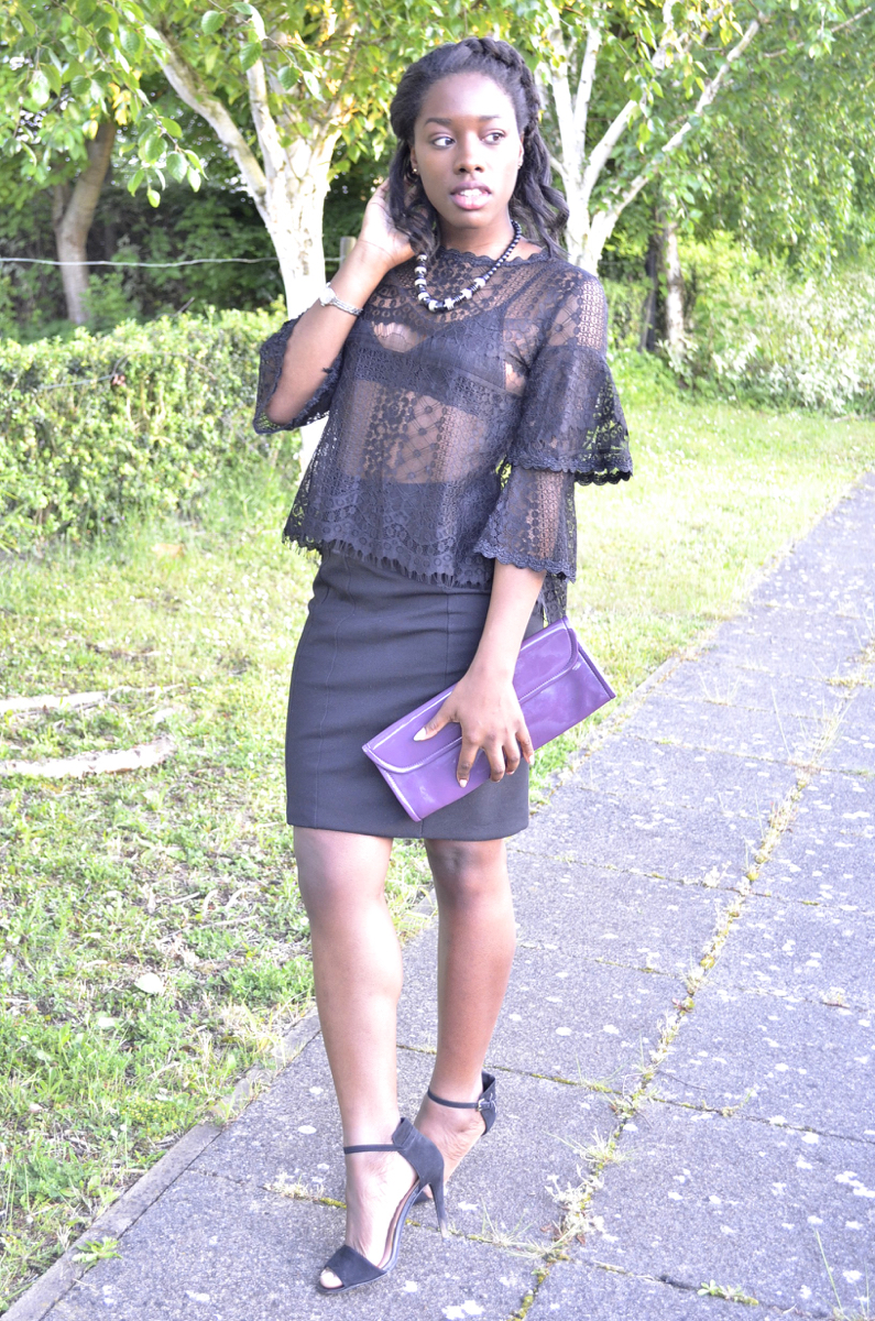 Outfit of the night lace top pencil skirt and strappy sandals full length