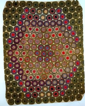 below is a 1900u0027s penny rug using wool and homespun according to the auction house
