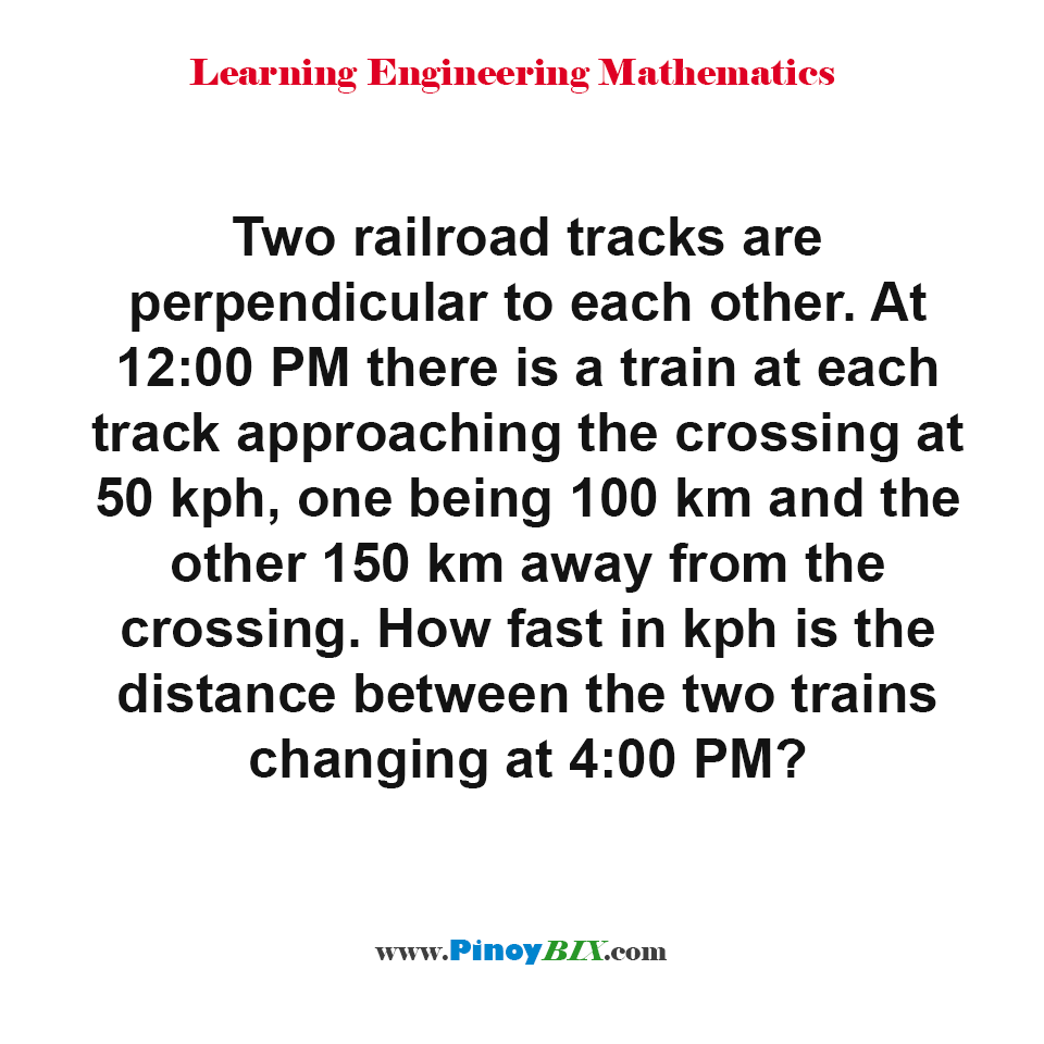 How fast in kph is the distance between the two trains changing at 4:00 PM?
