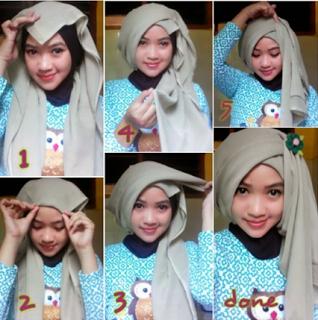 Tutorial Hijab Turban Segi Empat Modern Gaya #8 Drappery Layer Samping