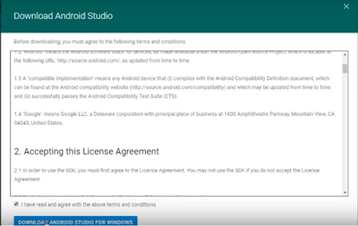 Accept licence agreement for downloading android studio 3