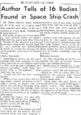 Author Tells of 16 Bodies Found in Space Ship Crash - El Paso Herald-Post 9-8-1950