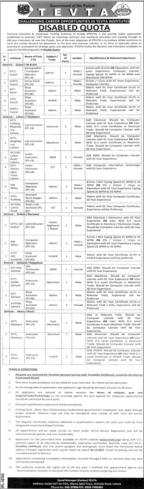 Jobs In Technical Education And Vocational Training Authority TEVTA Dec 2017