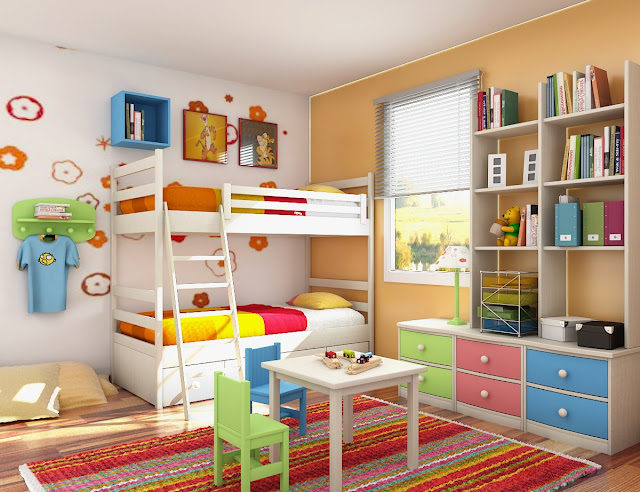 exciting kids bedroom ideas with two white tier bed completed with colorful area rug and attractive wall art