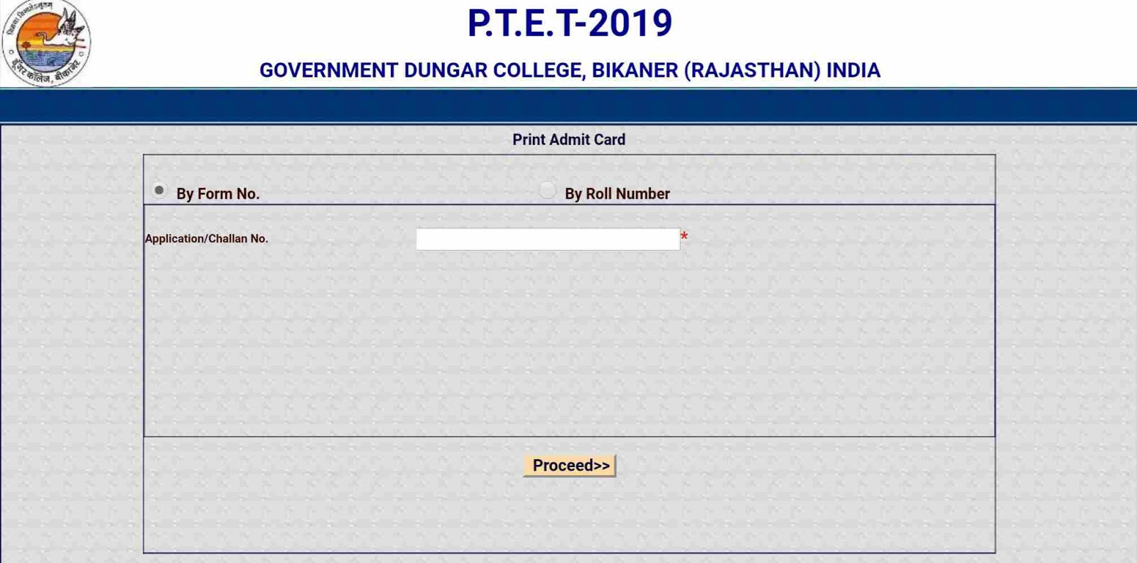 Rajasthan PTET 2019 Admit Card Download