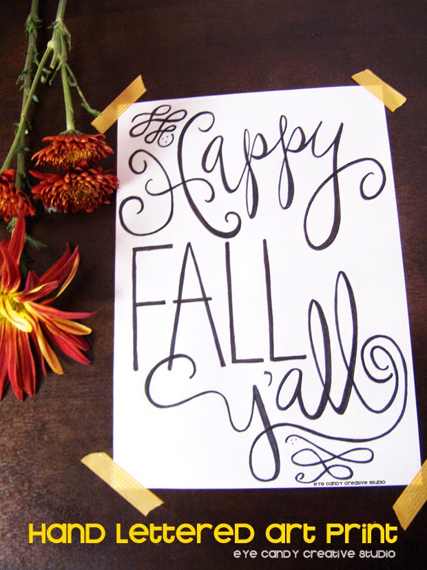 happy fall y'all, fall art print, art print, hand lettered, hand lettering, word art, fall print