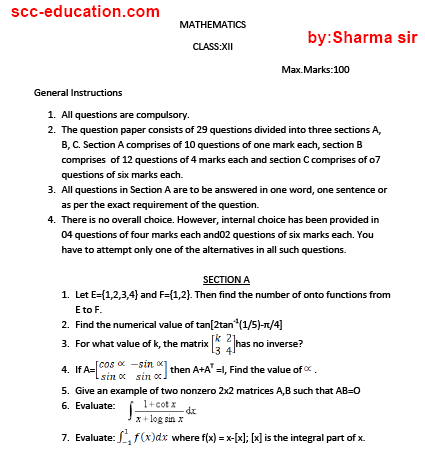 Mathematics   sample paper for class 12