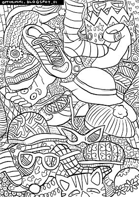 A coloring page of shoes, socks and hats / Värityskuva kengistä, sukista ja hatuista