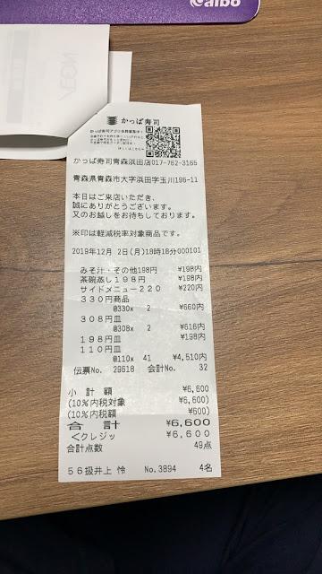 かっぱ寿司-帳單