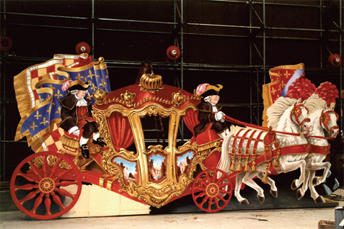 Cinderella's coach, with footmen, horses and driver