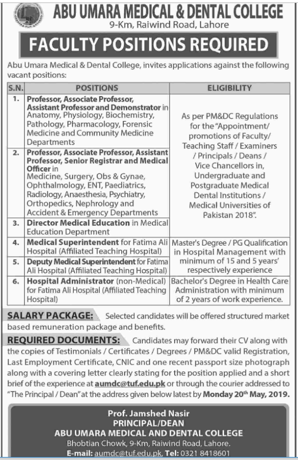 Advertisement for Abu Umara Medical And Dental College Jobs