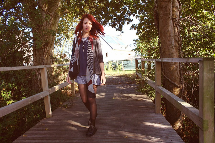 autumnal outfit, fall, jennifer, kimono, redhair, ootd, brezh, smock dress, h&m, bijoux brigitte, army, kaki, burgungy, bordeau, creepers, grunge, style, enjoyk, crystal, amethist, rennes, la creme, tote bag,