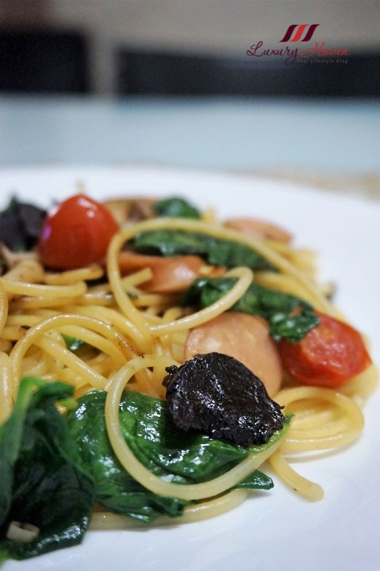 google black garlic spaghetti with cheese sausage recipe