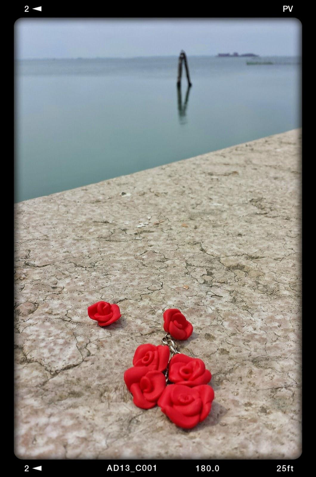 orecchini rose rosse fimo