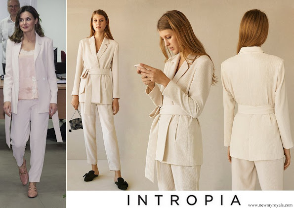 Queen Letizia wore Intropia Vanilla Embossed Lounge Suit