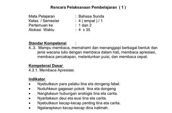 RPP Bahasa Sunda SD Kurikulum 2013 Revisi 2018