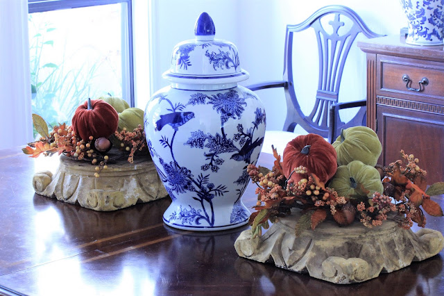 Simple Fall Dining Table Arrangement With Blue and White
