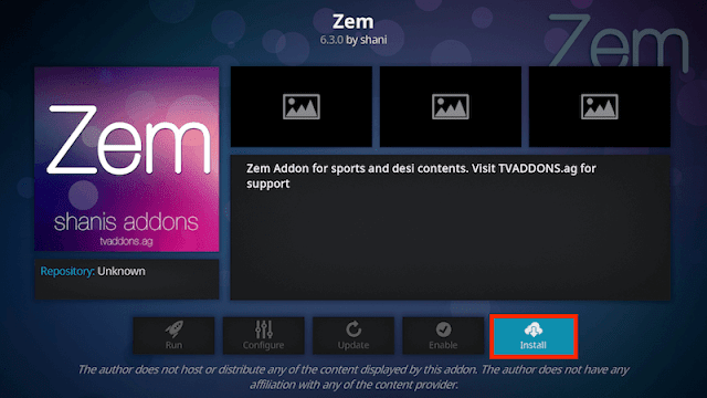 click install to begin install zemtv kodi addon