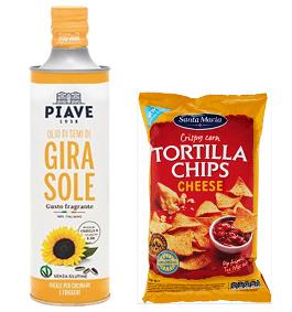olio piave e tortilla chips santa maria