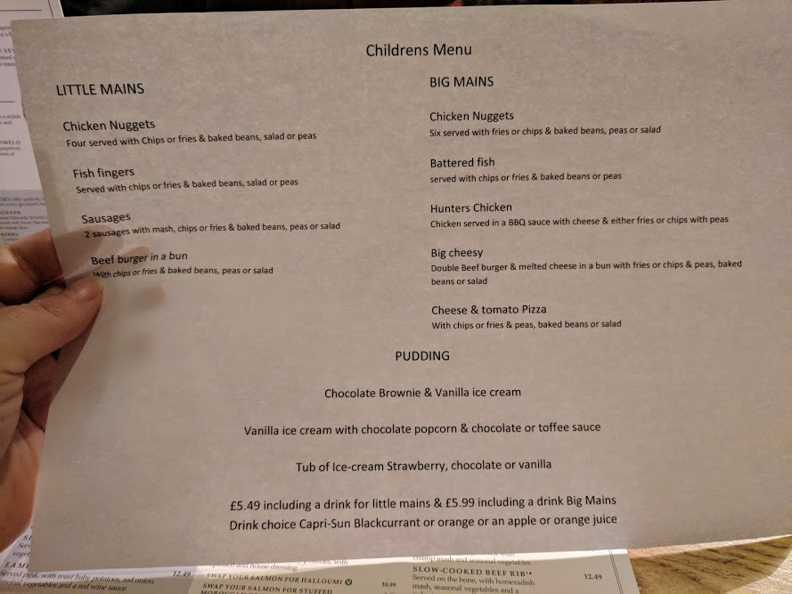 A lovely pub lunch & a trip to Corbridge Roman Town with kids  - The Black Bull Children's Menu