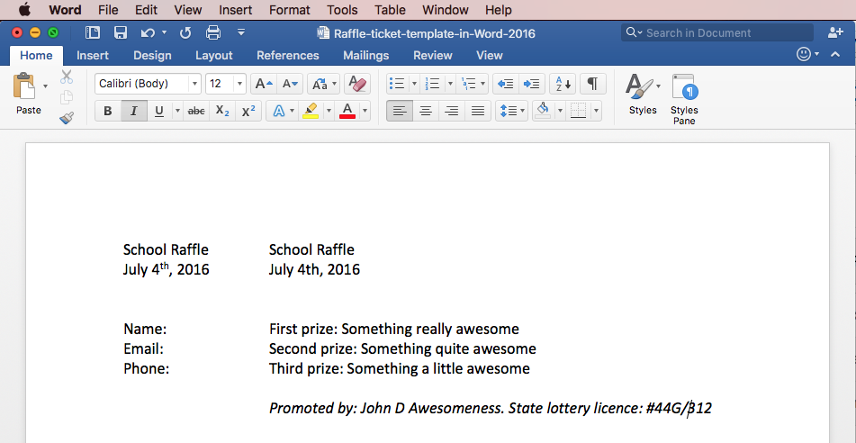 Print raffle tickets using a template in Office Word 2016 – Create Tickets Template
