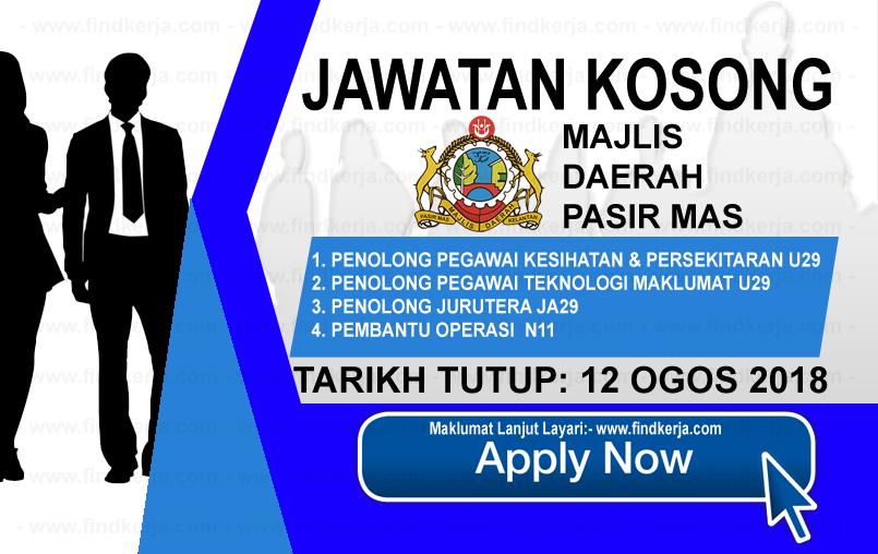 Jawatan Kerja Kosong MDPM - Majlis Daerah Pasir Mas logo www.ohjob.info www.findkerja.com ogos 2018