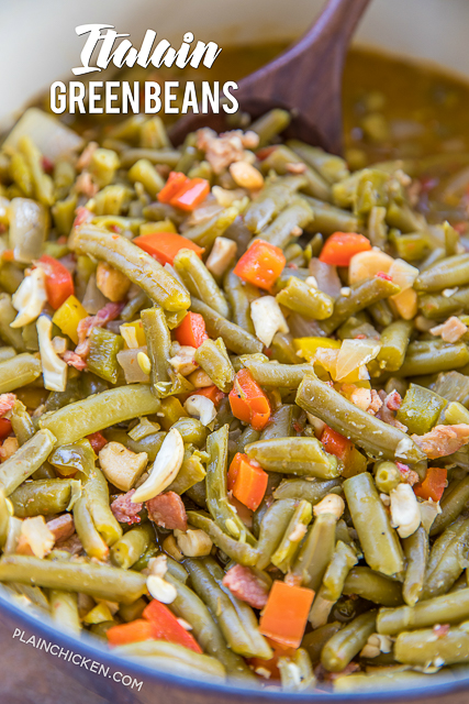 Amazing Green Beans Recipe - green beans, bacon, onion, red, yellow and green bell peppers simmered in Italian marinade. Top with cashews. Got the recipe from a caterer. These are THE BEST green beans you will ever eat.