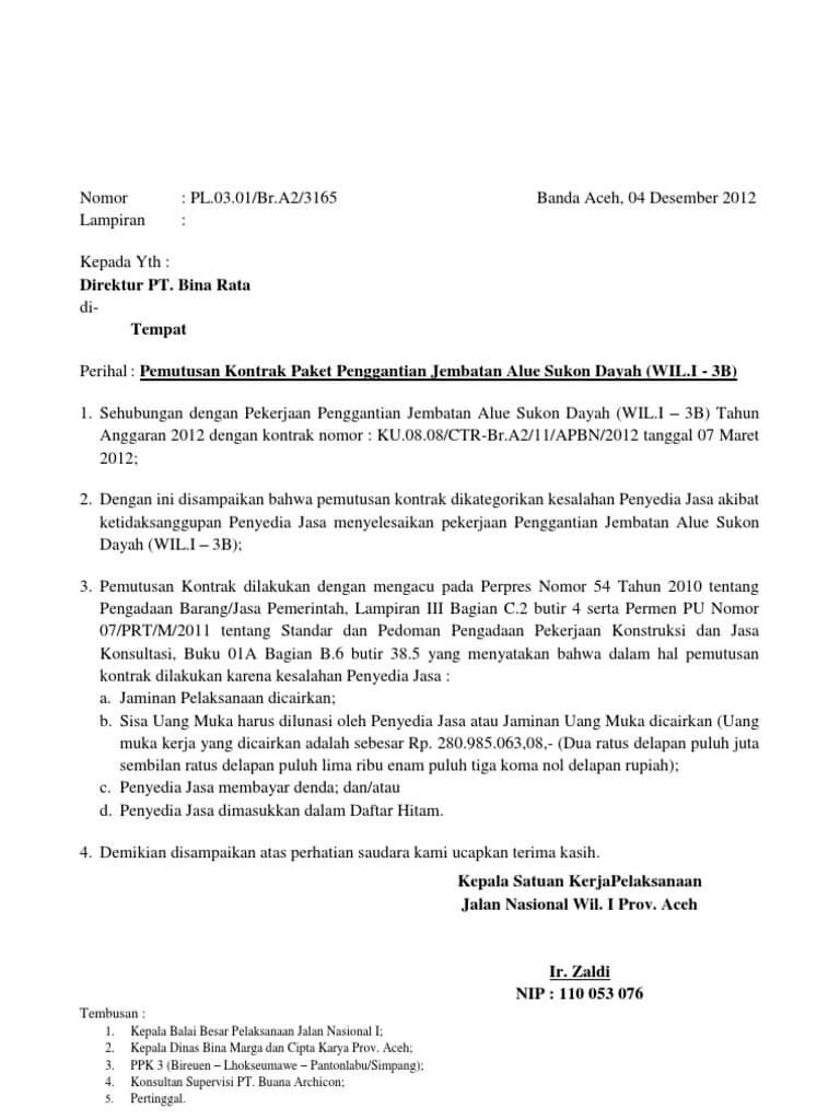 contoh surat pemutusan hubungan kerja antar perusahaan