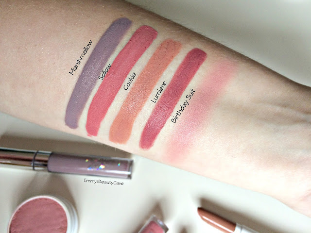 ColourPop Liquid Lipstick Swatches Marshmallow, Solow, Cookie, Lumiere, Birthday Suit Blush Swatch