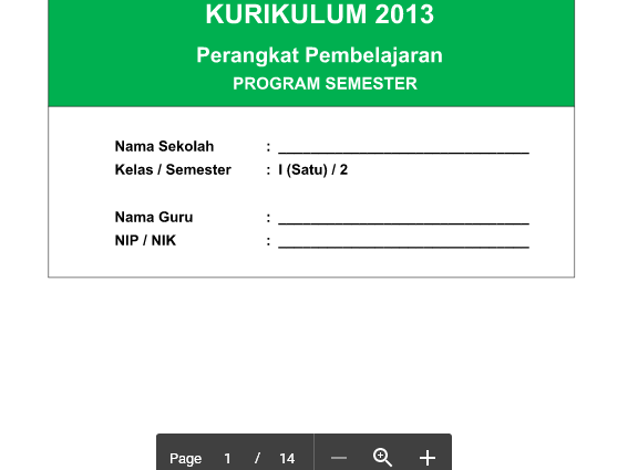 Program Tahunan PJOK SD Kelas 1 Kurikulum 2013 Revisi 2016