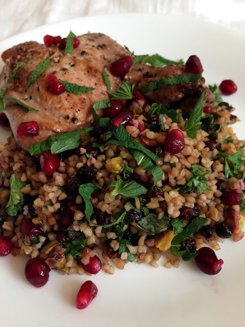 pomegranate molasses chicken with bulgar wheat salad
