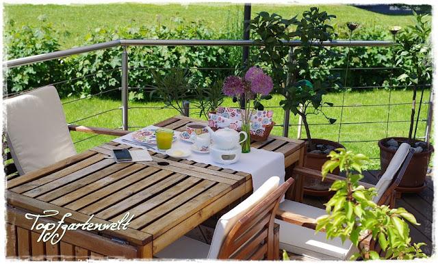 Gartenblog Topfgartenwelt: Frühstück im Garten mit Blumen in der Vase, Zierlauch
