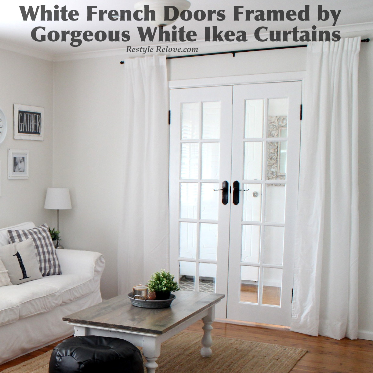 White french doors framed by gorgeous white ikea curtains for White french doors