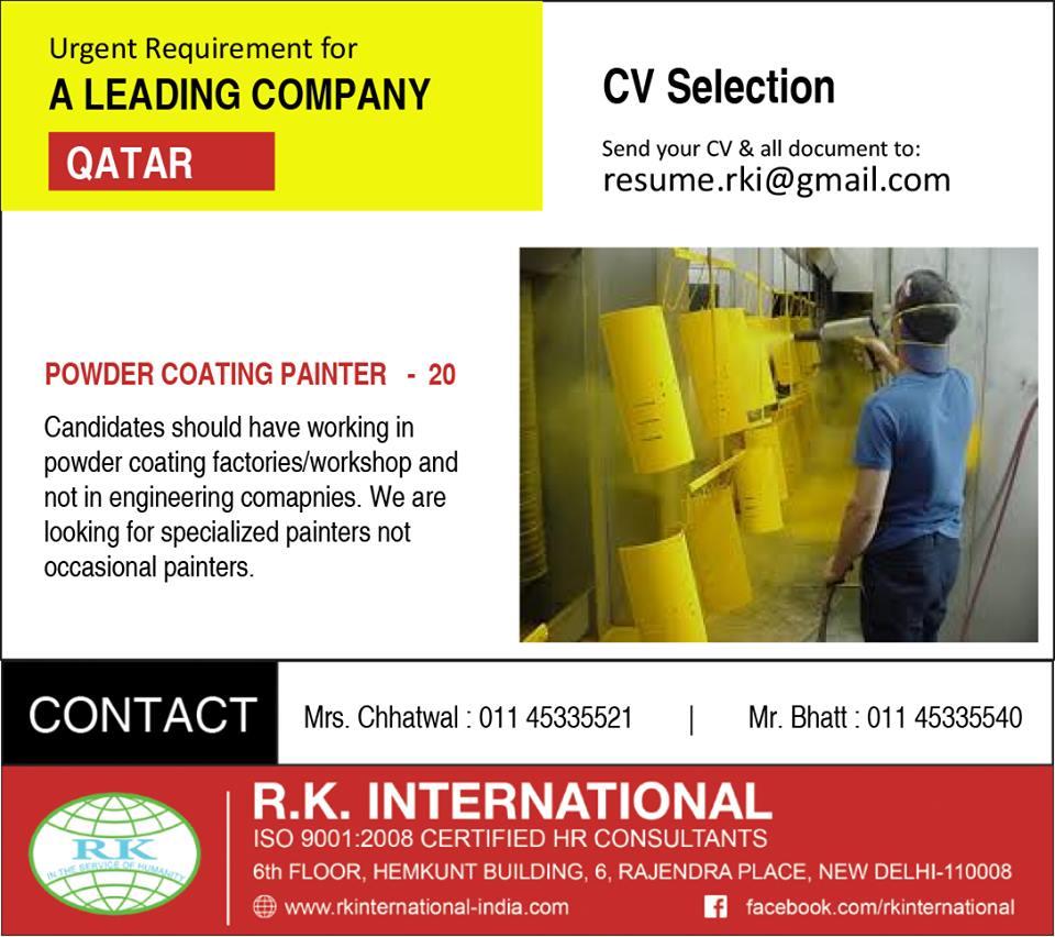 Powder Coating Painter CV selection for leading company Qatar