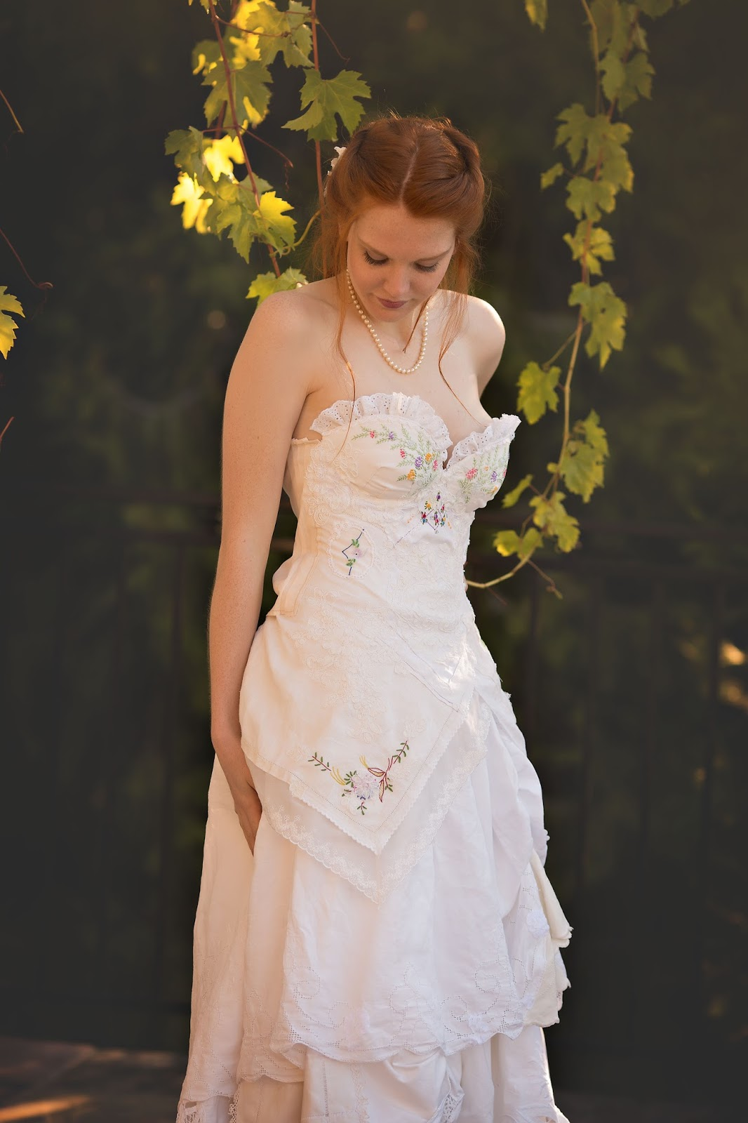 Embroidered Spring Wildflower Corseted Wedding Gown Rustic Woodland Meadow Bridal