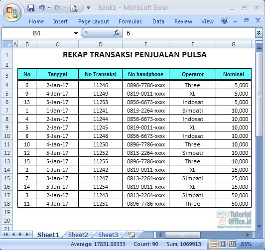 Sortir pada Excel