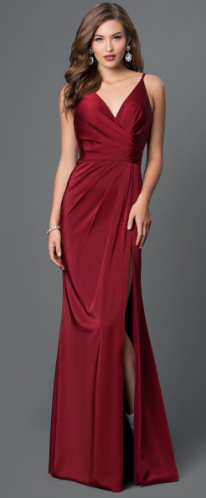 maroon strap dress with wrap body style