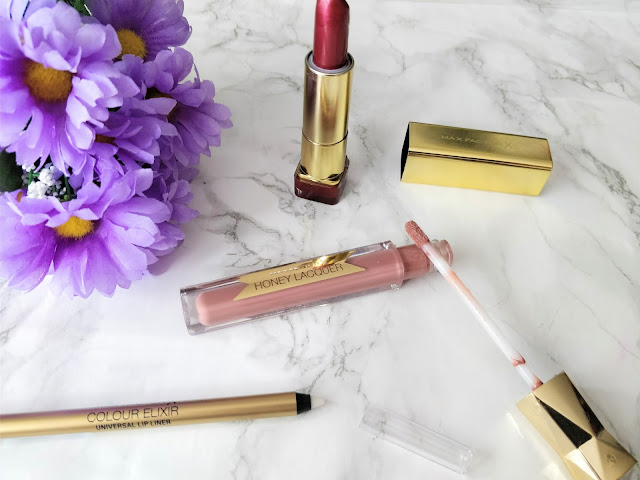 Max Factor Products- Mulberry Lipstick, Honey Lacquer Lipgloss, Universal Lipliner