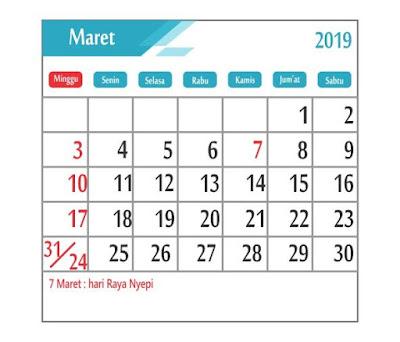 Kalender Maret 2019 - tanggal merah