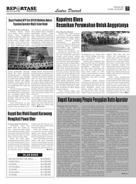 Reportase Nasional Edisi 241 Tanggal 10 Juli - 23 Juli 2017