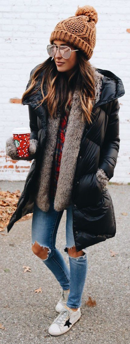 cozy winter outfit idea : knit hat + plaid shirt + jacket + cardi + rips + sneakers