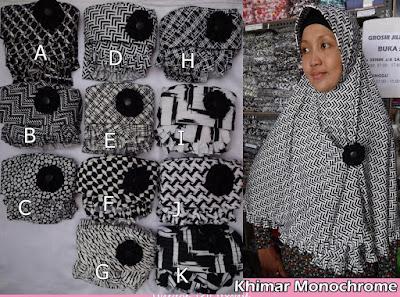 Grosir Jilbab Khimar Monochrome