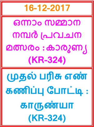 Kerala lottery First Prize Guessing competition KARUNYA KR-324