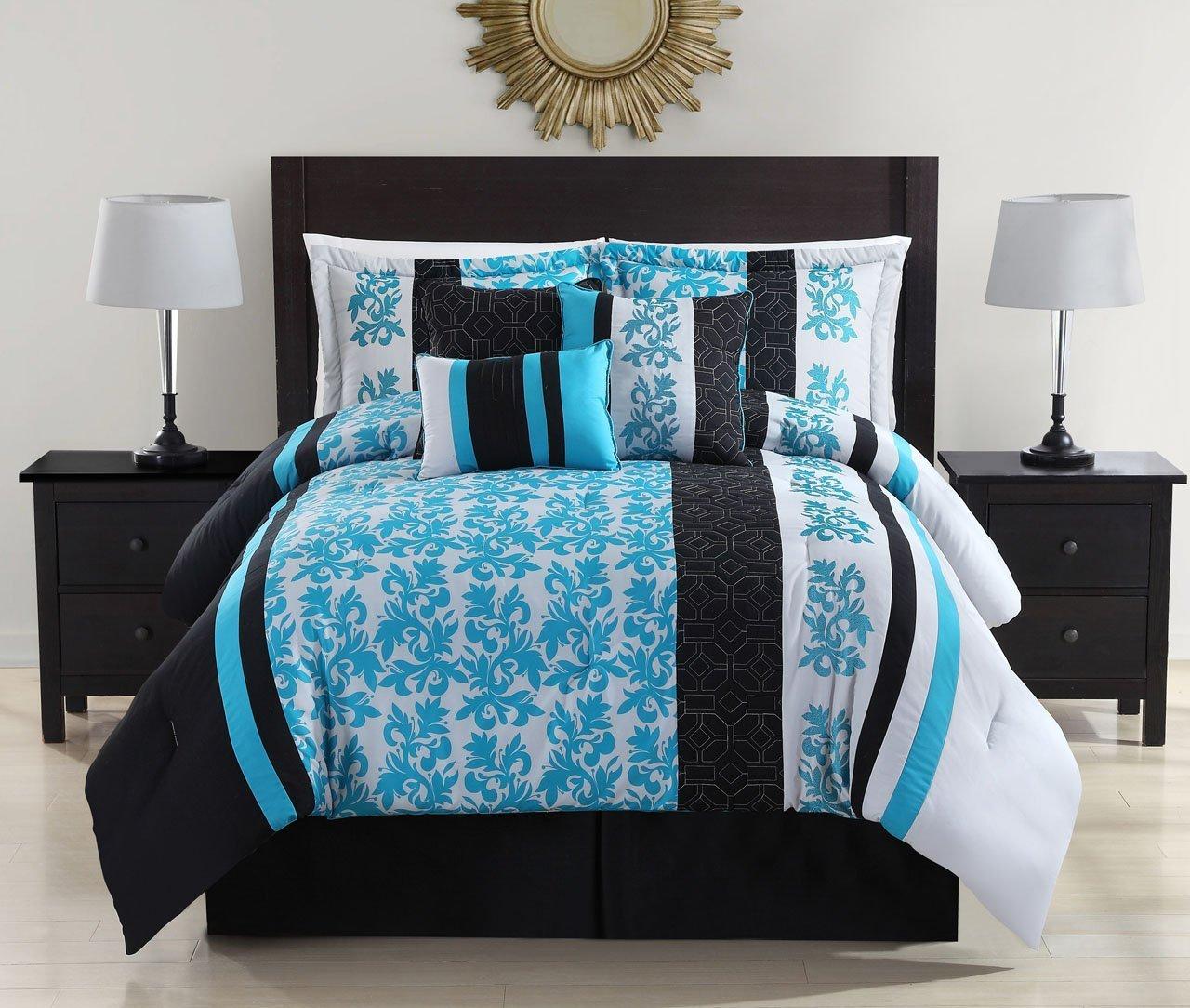 Aqua And Black Bedding