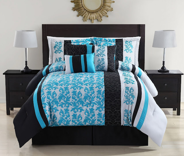 Black white and turquoise bedding sets for Black and white and turquoise bedroom ideas