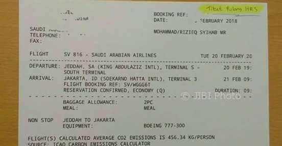 FPI Benarkan Tiket Pulang Habib Rizieq, Presidium 212 Sebut itu Palsu