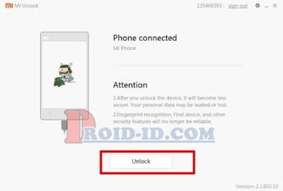 Ponsel Konek ke Xiaomi Tool
